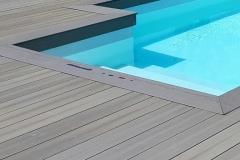 Carrelage imitation bois terrasse piscine Chamonix